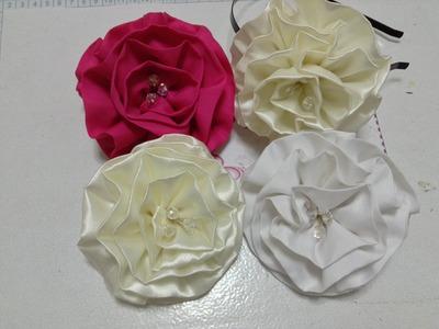 Como hacer una flor de tela de razo o satin VIDEO No. 133