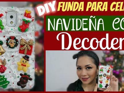 DIY: FUNDA NAVIDEÑA PARA CELULAR  CON DECODEN