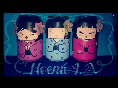 DIY: Organizador Kokeshi fácil con latas | Noemi♡