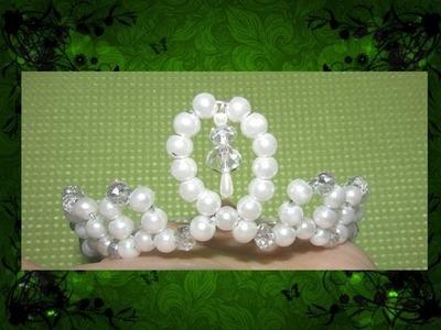 DIY:tiara de perlas y cristal para comunion