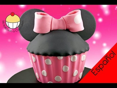 ¡Torta de Minnie Mouse! Cómo Hacer un Cupcake Gigante de Minnie Mouse con Cupcake Addiction