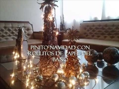 Pinito de navidad con rollitos de papel del baño. Christmas tree recycling toilet paper rolls