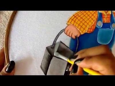Pintura en tela botas y recipiente de niño granjero cuatro con cony
