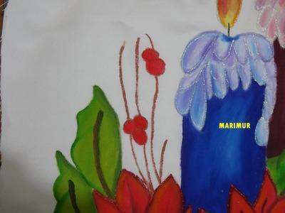 Pintura en tela vela azul de nochebuena CON MARIMUR  575