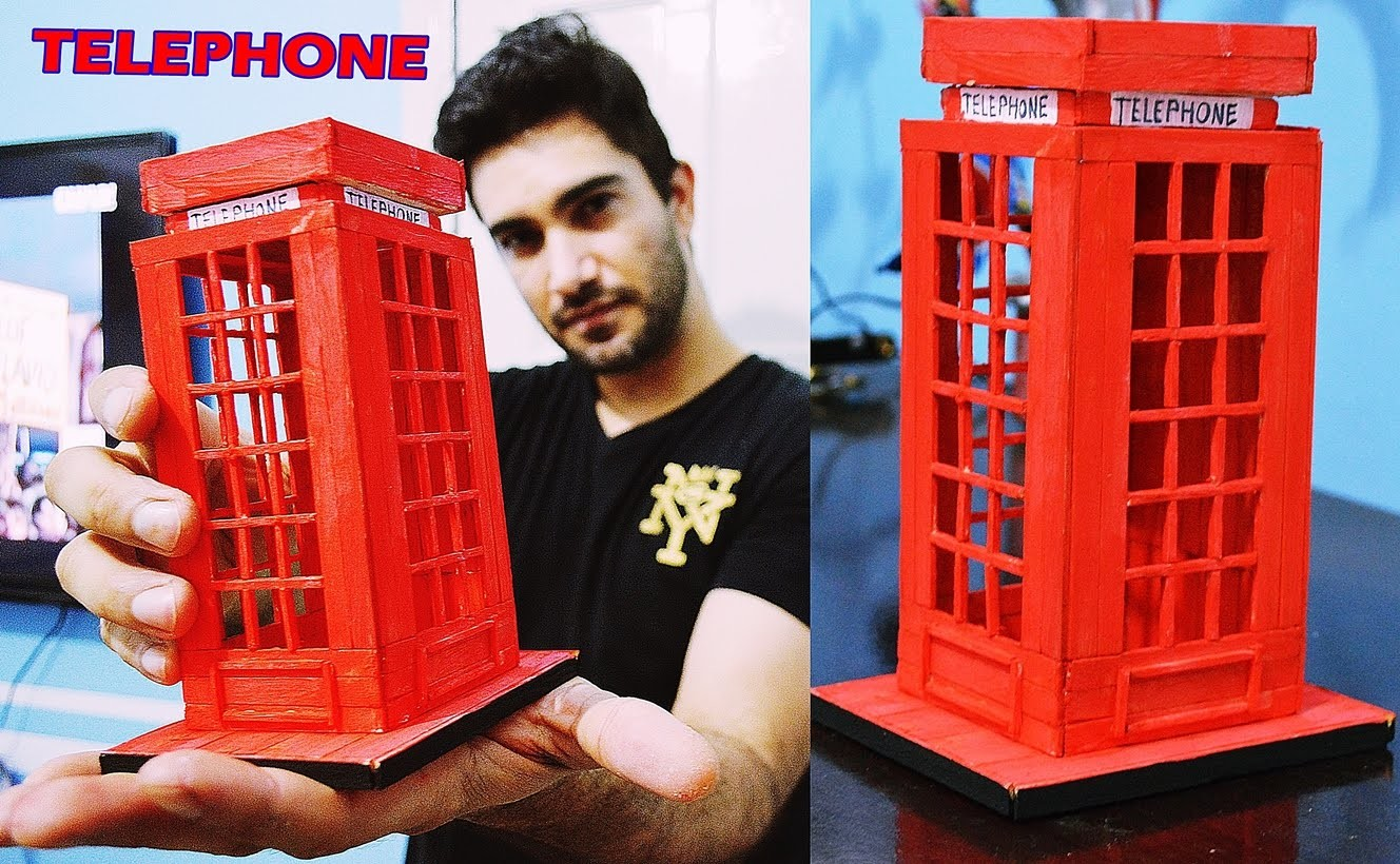 Presente Criativo para namorada - Cabine telefonica Londres (Palitos) Elton Donadon