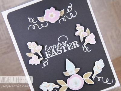 Tarjeta de Pascuas estampando flores