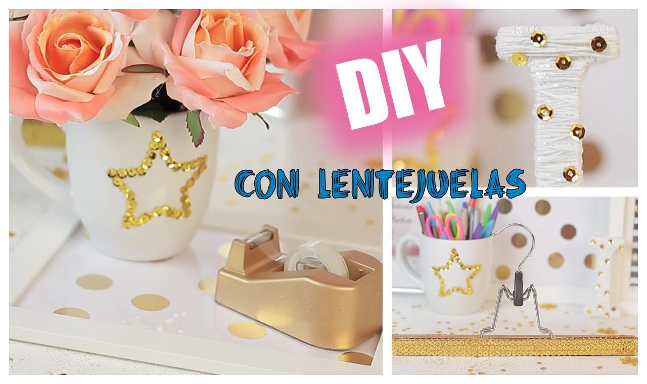 ♡DIY - Ideas para decorar con lentejuelas -  Súper fáciles y económicas. DIY Room Ideas
