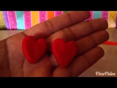 Tutorial:aretes de corazón en porcelana fria❤️