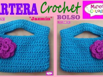 """Cartera Bolso a Crochet """"Jazmín"""" por Maricita Colours"""