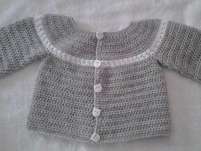 Chaquetita o chambrita a crochet para bebe  parte 2 #tutorial #DIY