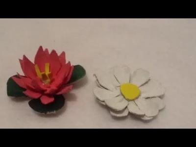 ♻️✂️DIY haz Flores de margaritas y flor de loto reciclando Cartón de huevos