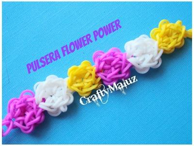 PULSERA FLOWER POWER DE GOMITAS (CON TELAR) Rainbow Loom