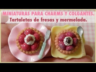 Tartaletas de fresas. Miniaturas en fimo, paper clay o porcelan fría. Kawaii, decoden charms.