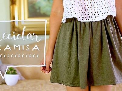 Transforma una CAMISA a una FALDA. DIY Recicla tus PLAYERAS! ♥ Alejandra's Styles