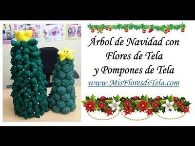 Arbolito Navideño con Flores de tela rellenas DIY