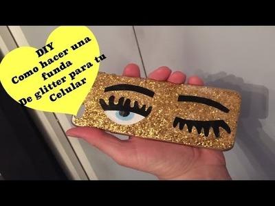 Como hacer una funda de glitter para tu celular.DIY