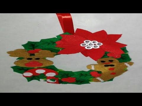 Corona navideña para puerta adornos navideños manolidades tutorial DIY