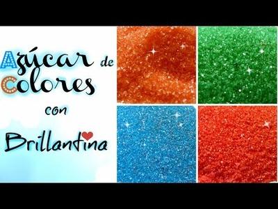 DIY AZUCAR DE COLORES CON BRILLANTINA. SUGAR COLORS GLITTER| Cakemol