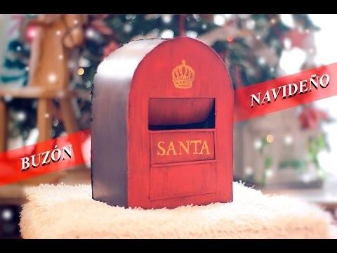 Diy buz n vintage navide o para cartas a santa claus papa noel reciclando video paso a paso - Buzon vintage ...