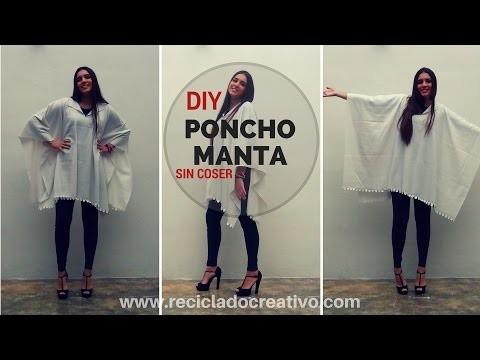 DIY Cómo hacer un Poncho Manta. Muy fácil y sin coser - How to make a Blanket Coat Poncho
