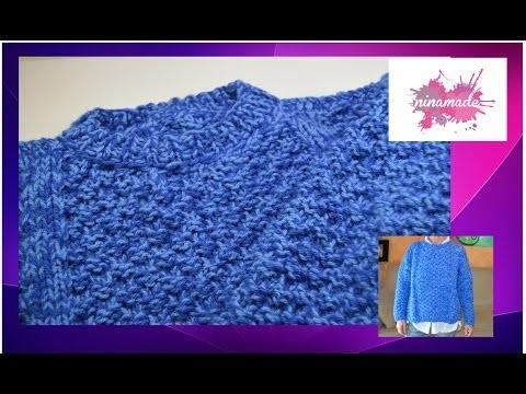 DIY. Como tejer un jersey con doble punto de arroz. As knitting a jersey with double rice point