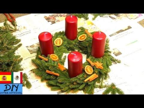 DIY Corona de adviento con pino y velas
