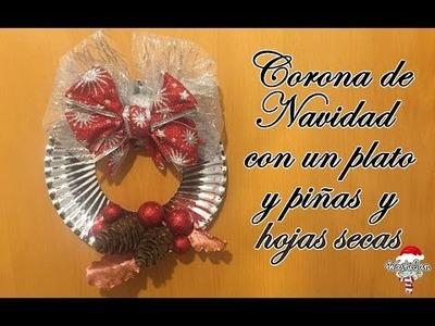 DIY : Corona de Navidad con un plato de papel y piñas y hojas secas