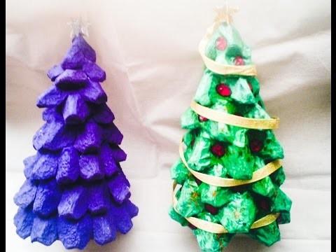 DIY Mini árbol navideño+dulcero.reciclado.cartón de huevo.how to make