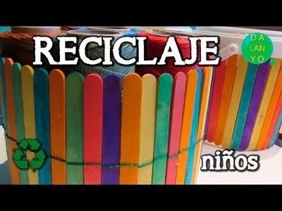 Recipiente de palos de helado | Reciclaje | Niños | DIY