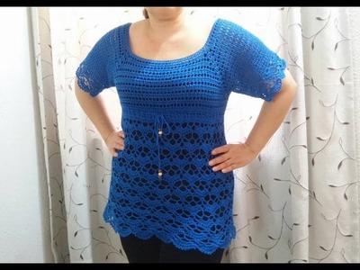 Blusa Canesu y abanicos a crochet parte 2
