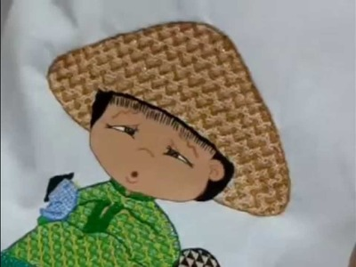 Bordado Fantasia Puntada Sombrero Niño Champiñon.