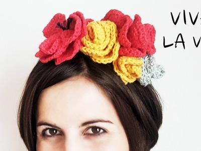 CORONA de FLORES a crochet inspirada en Frida Kahlo (English SUBS!) | Tutorial PASO A PASO