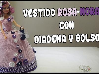 Vestido Rosa-Morado con Diadema y Bolso a crochet para Muñeca