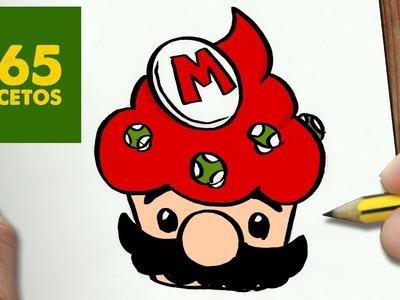 COMO DIBUJAR MARIO CUPCAKE KAWAII PASO A PASO - Dibujos kawaii faciles - How to draw a MARIO CUPCAKE