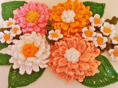 Como tejer fácil y rápido flores con hojas en ramos - Make learning to Knit quick crochet