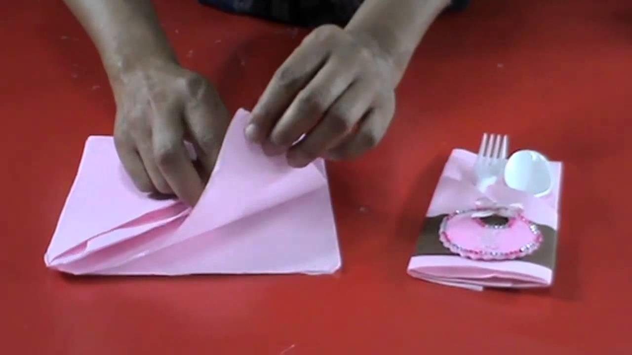 Servilletero fiesta bautizo o baby shower - Como decorar una servilleta de papel ...