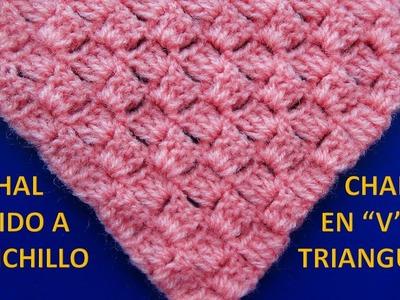Chal tejido a crochet # 7 en forma triangular o en V paso a paso