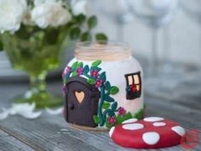 Como hacer candeladro Dulce hogar de arcilla muy bonito y facil