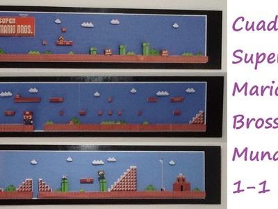 Cuadro de super Mario Bross mundo 1-1. decorar mi cuarto. paper crafting fácil