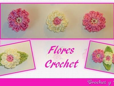 Flor punto puff tejida a crochet ganchillo