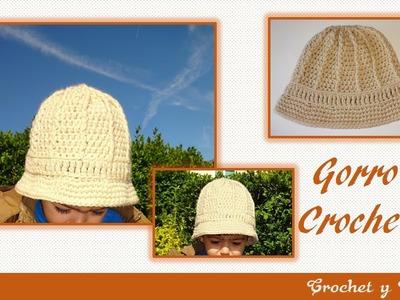 Gorro – sombrero safari tejido a  crochet para niños