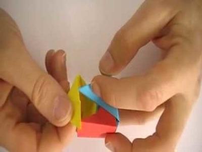 Prisma triangular con módulos de sonobe plano