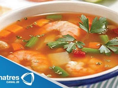 Receta para preparar caldo de camarón.