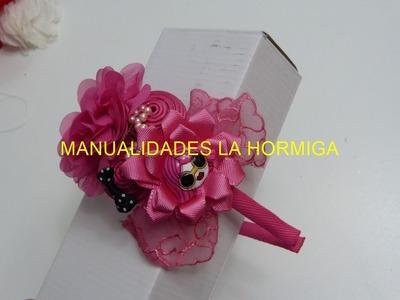 Tutorial diademas, Pap flor en cinta, Accesorios Niñas, Tiaras faciles, vinchas, cintillos