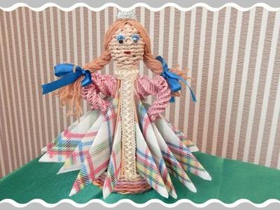 Weaving newspapers doll stand for napkins Handmade Cesto de papel periodico