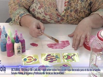 Artesanías - Como decorar frascos usando Plasticola y una técnica simple