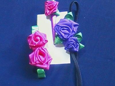 Como hacer rosas de tela.cinta. DIY