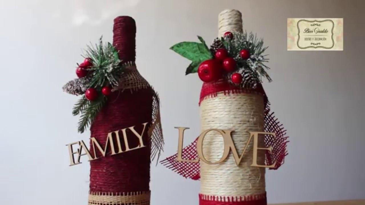 Como decorar botellas de vidrio con cabuya manualidades - Como decorar pinas para navidad ...