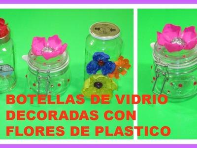 COMO DECORAR BOTES DE VIDRIO CON FLORES DE BOTELLA PLASTICAS- MANUALIDADES PRACTIKO