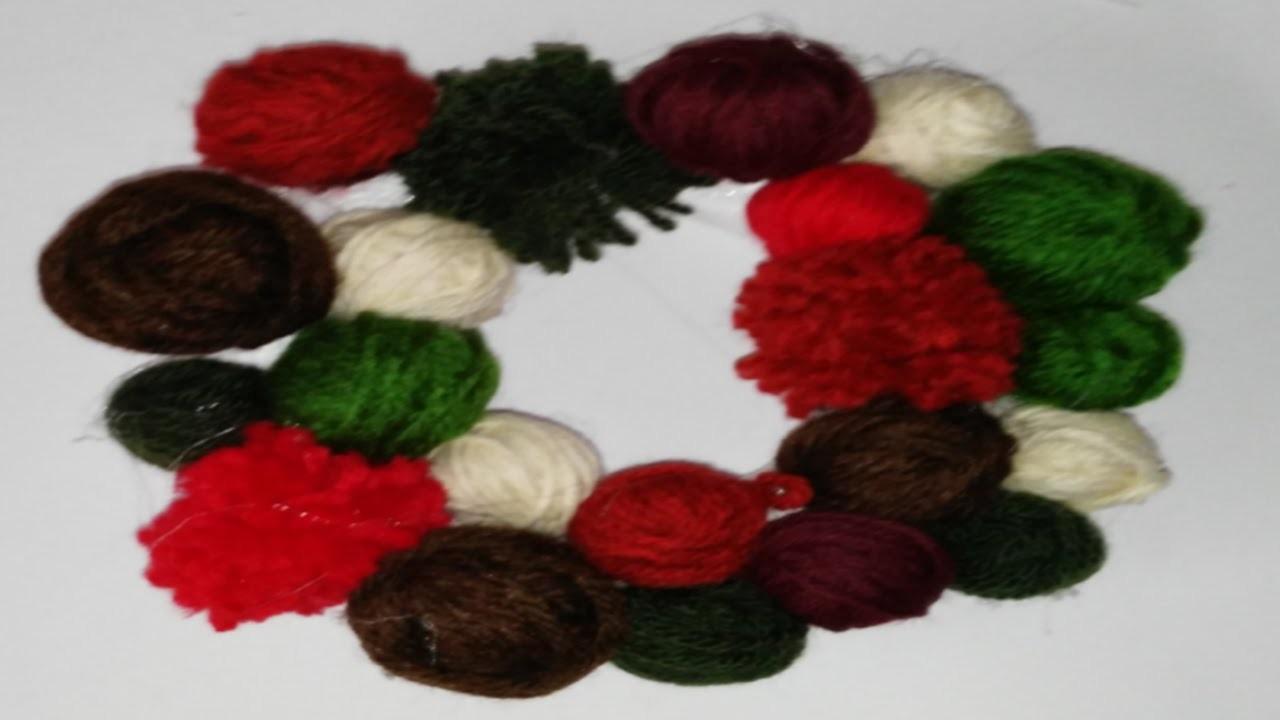 Como hacer corona de navidad con ovillos de lana تاج عيد الميلاد 聖誕節冠 christmas crown tutorial DIY
